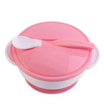 Toddler Suction Cup Bowl With Spoon Baby Food Feeding Tableware(#1White Spoon+Pink Bowl)