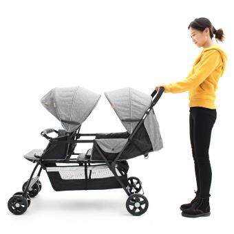 Twin baby trolleys 2 flax material front and back light aluminum tube tandem car