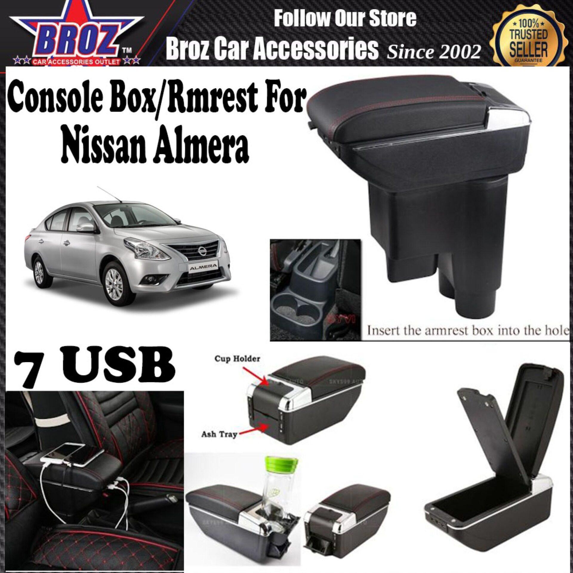 Almera PVC ABS Adjustable Armrest Console Box 7 USB