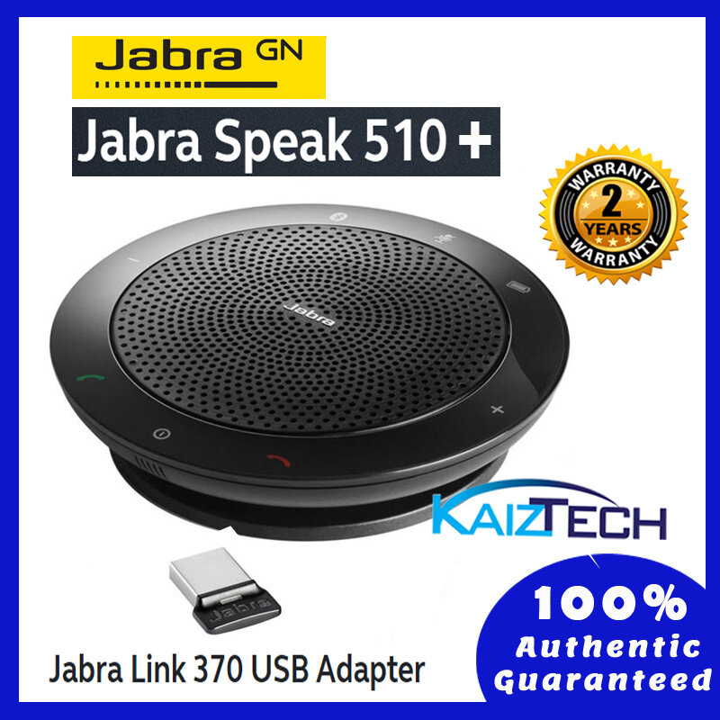 Jabra Speak 510+ UC Portable USB and Wireless Bluetooth Conference Speakerphone + Link 370