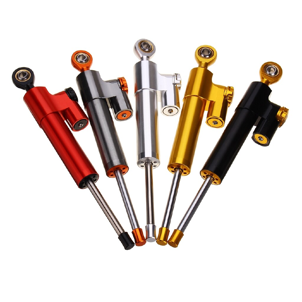 Moto Accessories - Universal Motorcycle Steering Stabilizer Damper Linear Reversed Safety Control - BLACK / SILVER / RED / ORANGE / GOLD