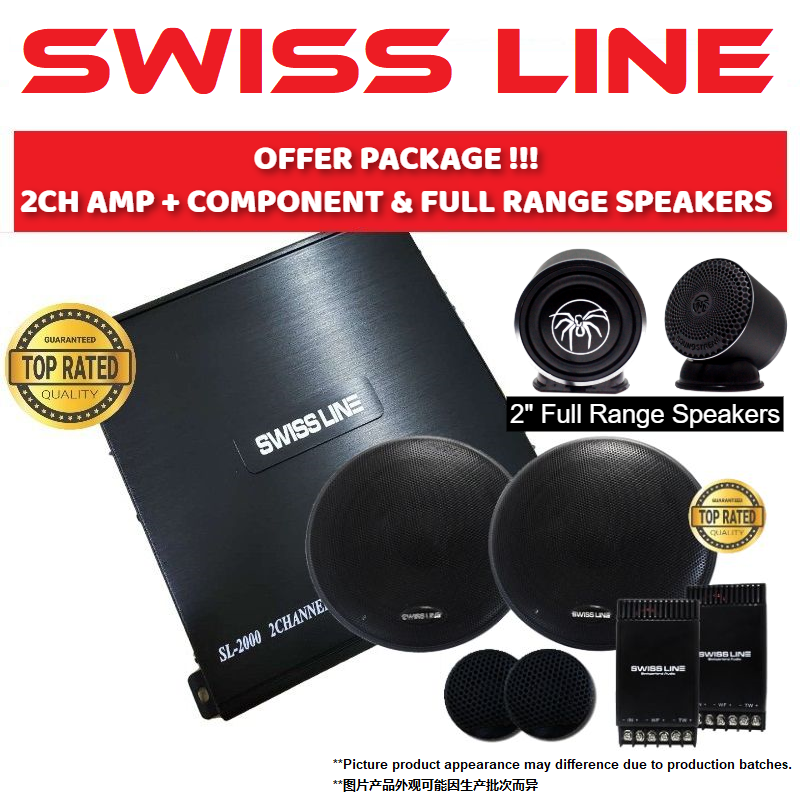 "SWISS LINE Package 2 Channel Car Power Amp + 6.5"" Mid-Bass Crossover Tweeter Component Set Car Speaker + Soundstream 2"" Full Range Speakers"