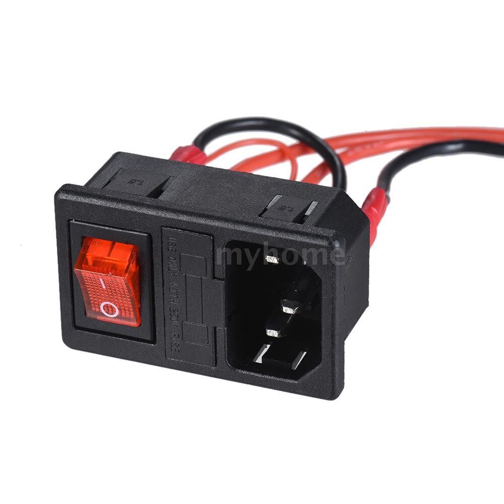 Printers & Projectors - 220V/ 15A Power Supply Switch Male Socket with Fuse for 3D Printer DIY - #