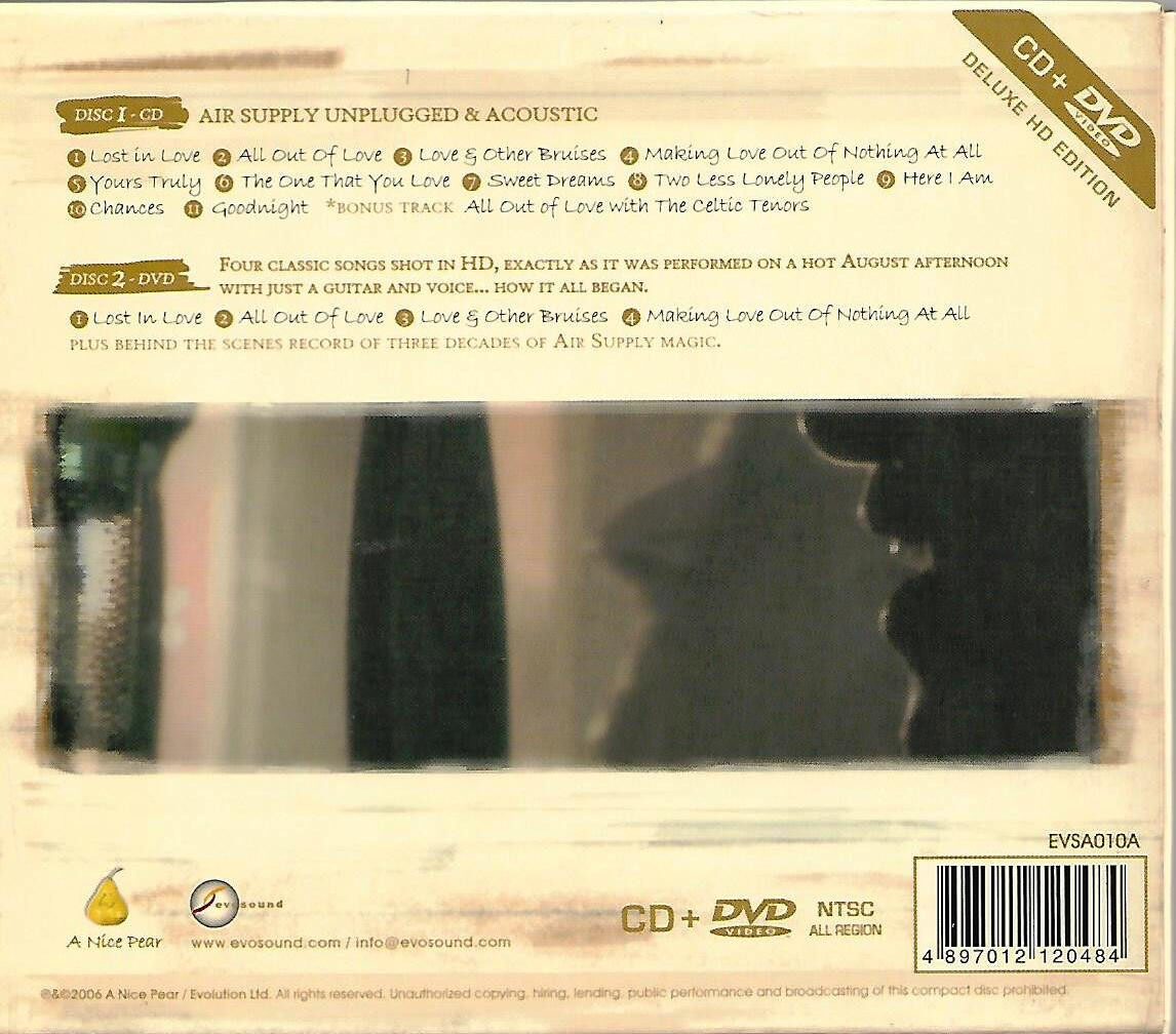 Air Supply The Singer And The Song Unplugged & Acoustic CD + DVD Deluxe HD Edition