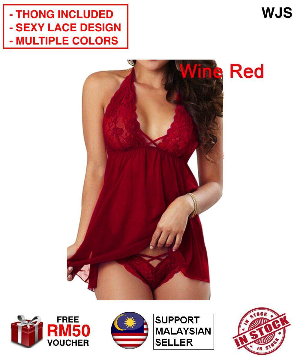 (THONG INCLUDED) WJS Size M - 5XL European Women Sexy Lace Dress Lingerie Temptation Sexy Underwear Night Dress Plus Size Sexy Wear See Thru See Through Skirt Sex Up Your Life BLACK BLUE PURPLE PINK RED TURQUOISE [FREE RM 50 VOUCHER]