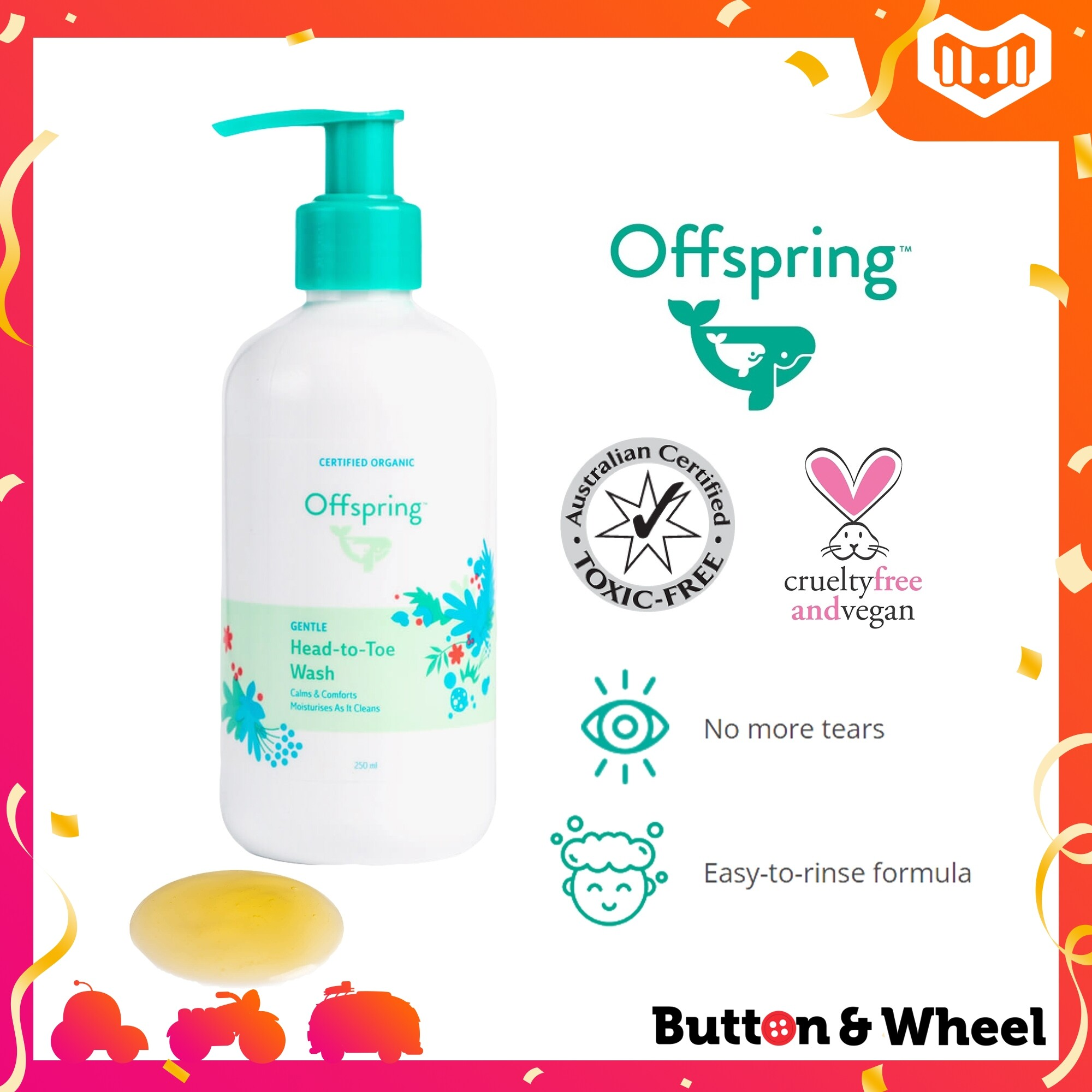 Offspring Gentle Head to Toe Wash (250ml) (Expiry Date: 10/2021):OI-BE-HTT-250ML