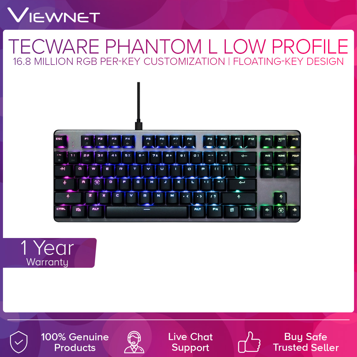Tecware Phantom L Low Profile Wired Mechanical RGB Blue/Brown/Red Switch Keyboard (TW-KB-PL-ZOBL/TW-KB-PL-ZOBR/TW-KB-PL-ZORD)