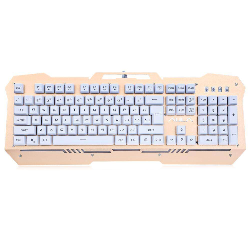 104 KEYS 7-COLOR LED BACKLIGHT WIRED GAMING KEYBOARD (GOLDEN)