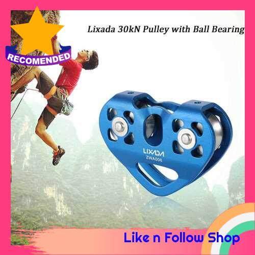 Lixada 30kN Zipline Cable Trolley Pulley with Ball Bearing Rock Climbing Caving Aloft Work Rescue (blue)