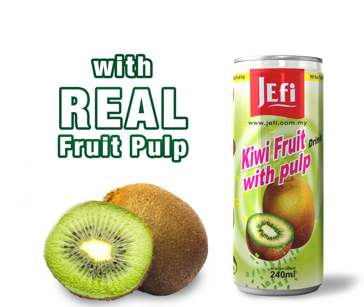 JEFI Kiwifruit Drinks with Real Fruit Pulp (240ml x 1tin)