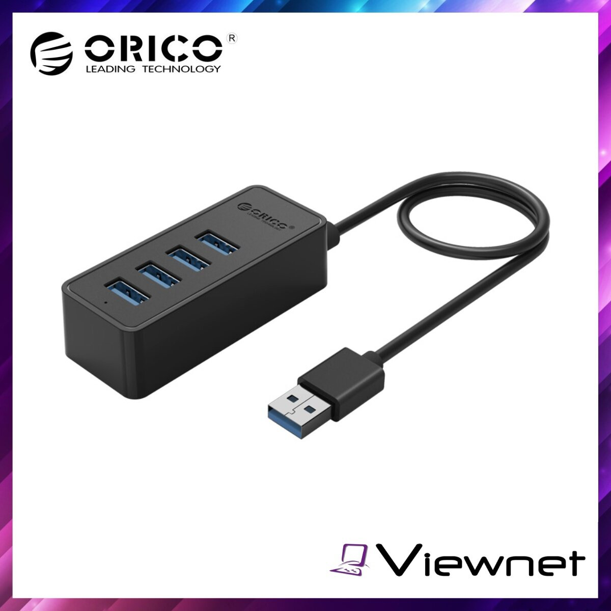 Orico 4-USB3.0 Hub With Micro USB Input (ORICO W5P-U3-30), External Power Supply, 4 Ports Operating Simultaneously, Fast Speed Data Transfer Rate, Black