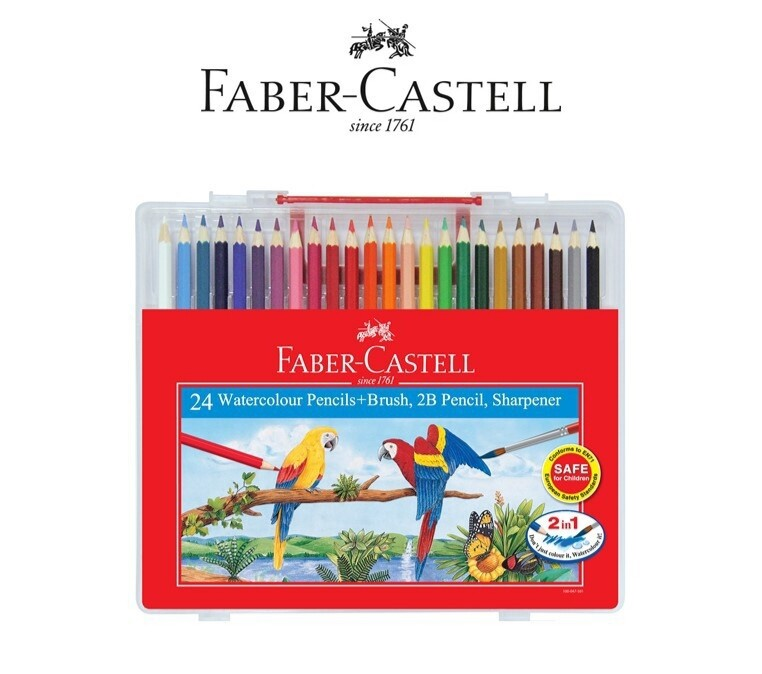 Faber-Castell 24 Watercolour Pencils + Brush + 2B Pencil + Sharpener
