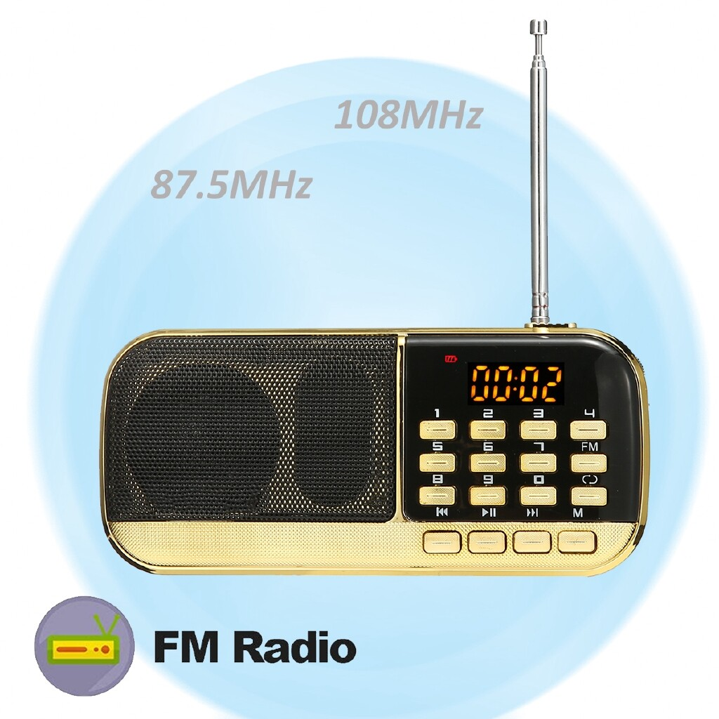 Radios - PORTABLE FM Speaker MINI Music Player Radio TF U-disk Earphone Elders Xmas Gifts - Audio