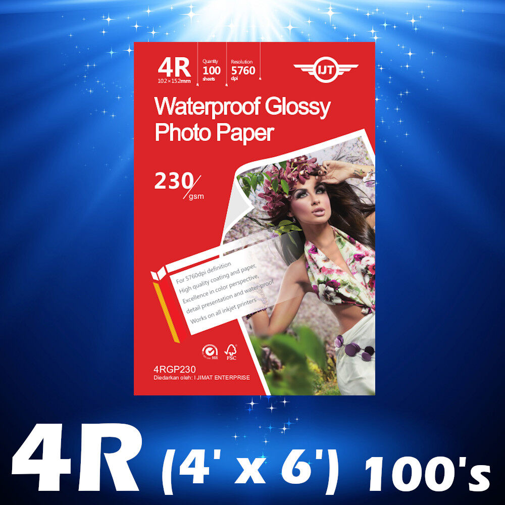 4R Glossy Photo Paper 4x6 Size 100 Sheets 230g / 100's Waterproof 230gsm (Each Pack 100 Sheets) I JIMAT