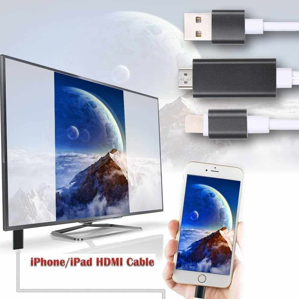M USB to HDMI HDTV AV Cable Adapter for i-Phone 7/7/Plus/6S/6/Plus/5S/5 Charging Adapter Cable Golden (Gold)