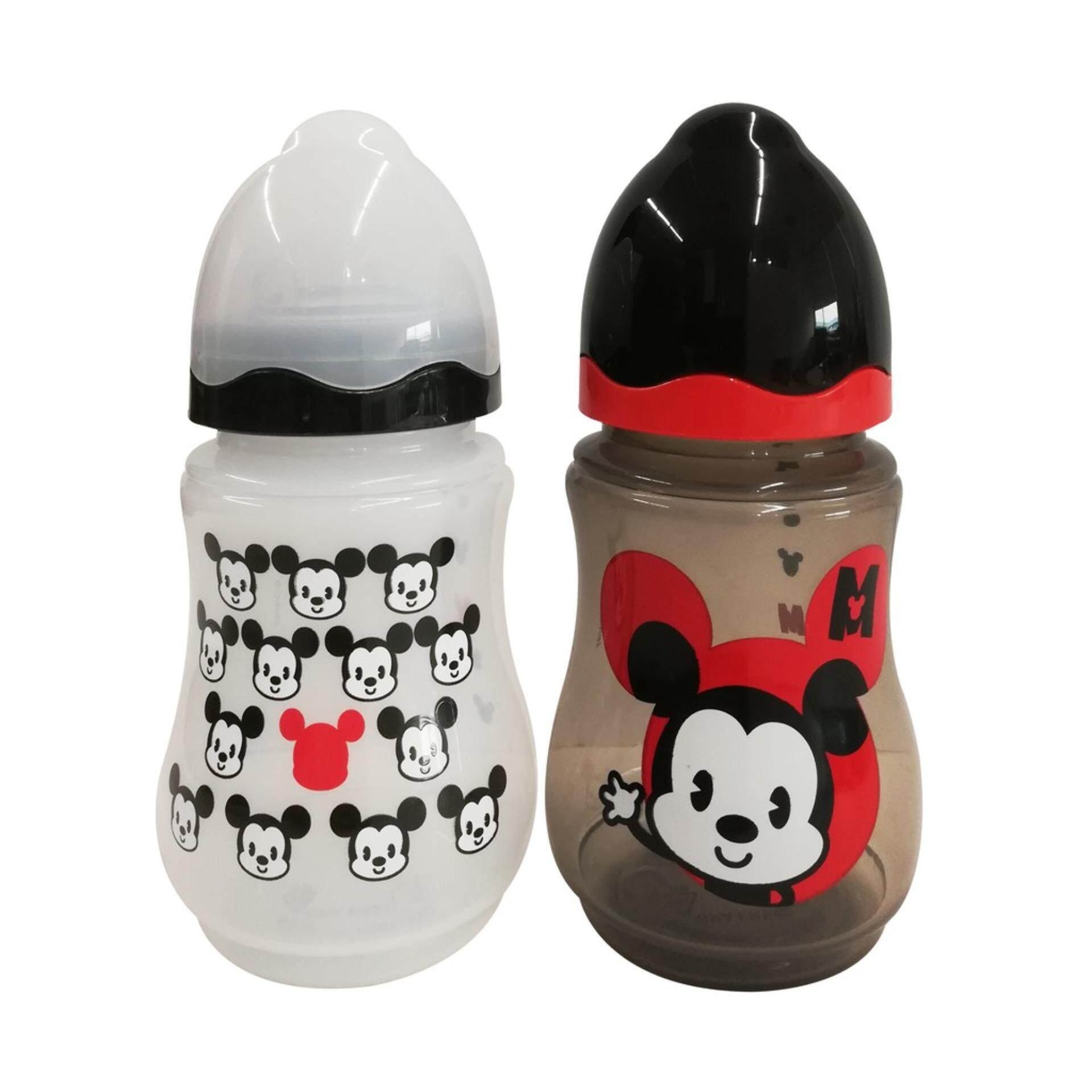 Disney Cuties 9OZ Twin Pack With Wide Neck BPA Free Bottle Set - Mickey & Minnie