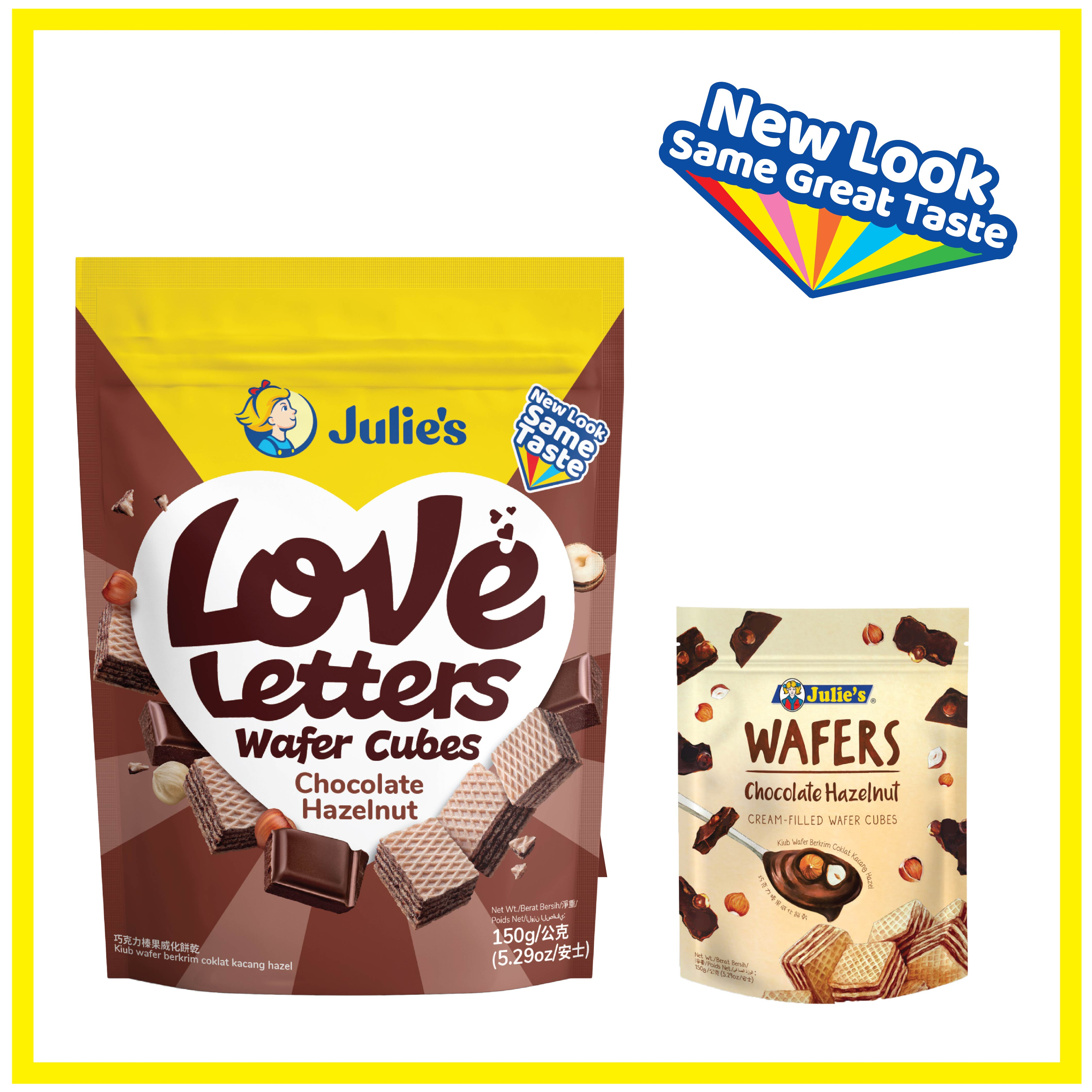 Julies Love Letters Wafers Chocolate Hazelnut Cream 150g x 1 pack