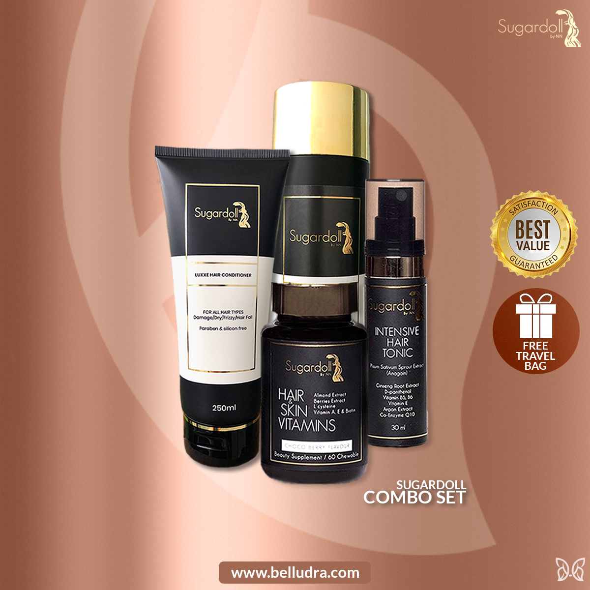 [Hair Loss Treatment] Sugardoll Hair & Skin Vitamins + Intensive Hair Tonic + Shampoo & Conditioner Set + Free Gift