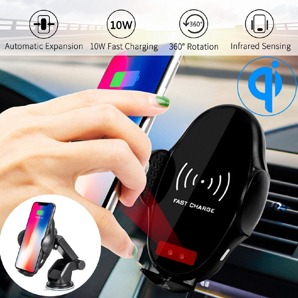 Chargers - Qi WIRELESS Car Charger Stand Automatic Infrared Mount Holder for iPh XS Max - Cables