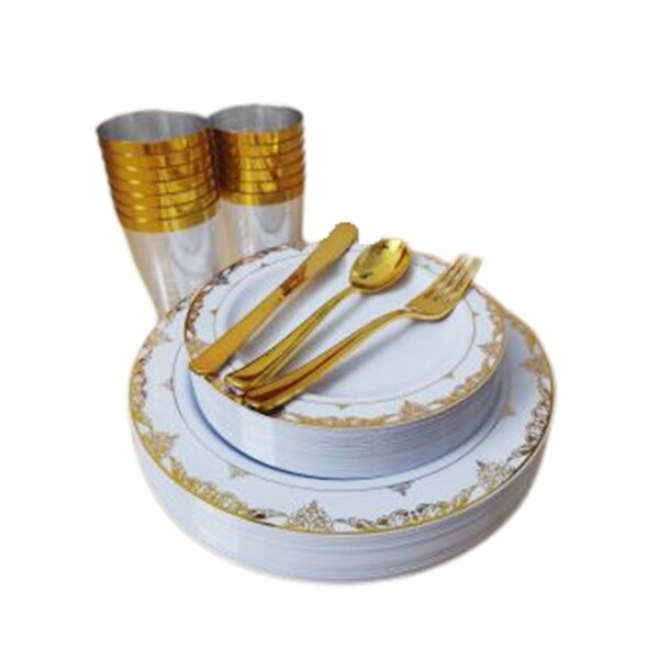 Disposable Plastic GOLD LACE Dinnerware Set [1Box 25Guests 150 Pcs) - Dining Set Kitchen Set Home Plates Cups Cutlery