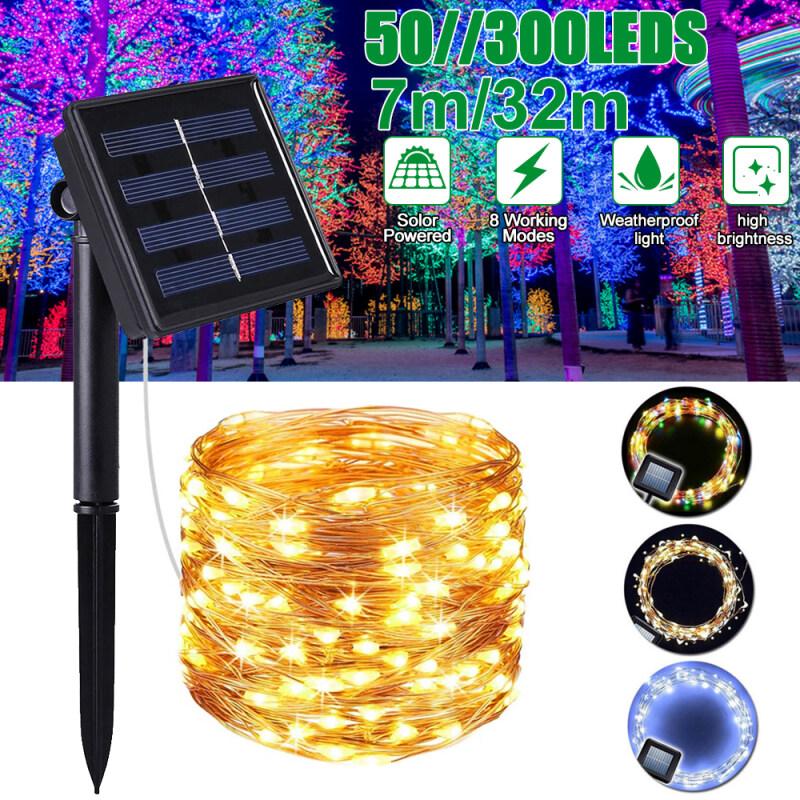300 LED 32M Năng Lượng Mặt Trời Chuỗi Đèn Chiếu Sáng Ngoài Trời 8 Chế Độ Đầy Sao Đèn Dây Đồng Không Thấm Nước IP65 Cổ Tích Giáng Sinh Đảng Đèn Trang Trí Cho Đám Cưới Nhà Bên Halloween