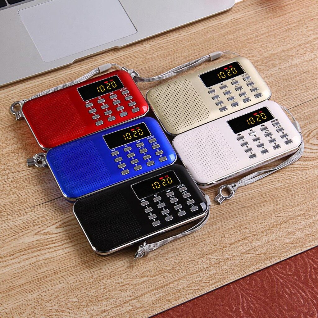 Radios - PORTABLE Digital FM/AM Radio Bass MP3 Music Speaker LCD AUX USB TF LED Light_3C - RED / WHITE / GOLD / BLUE / BLACK
