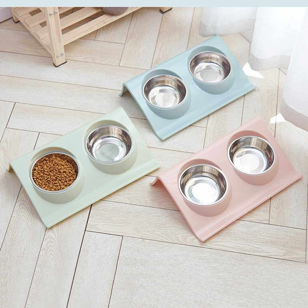 Double Dog Cat Bowls Stainless Steel Pet Bowls with No-Spill Bottom Food & Water Feeder Raised Bowls for Cats Medium and Small Dogs (Pink)