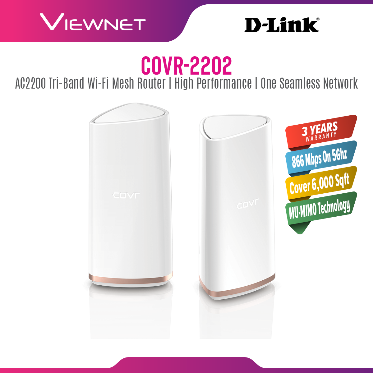 D-Link AC2200 Dual-Band Whole Home Mesh Wi-Fi System COVR-2202