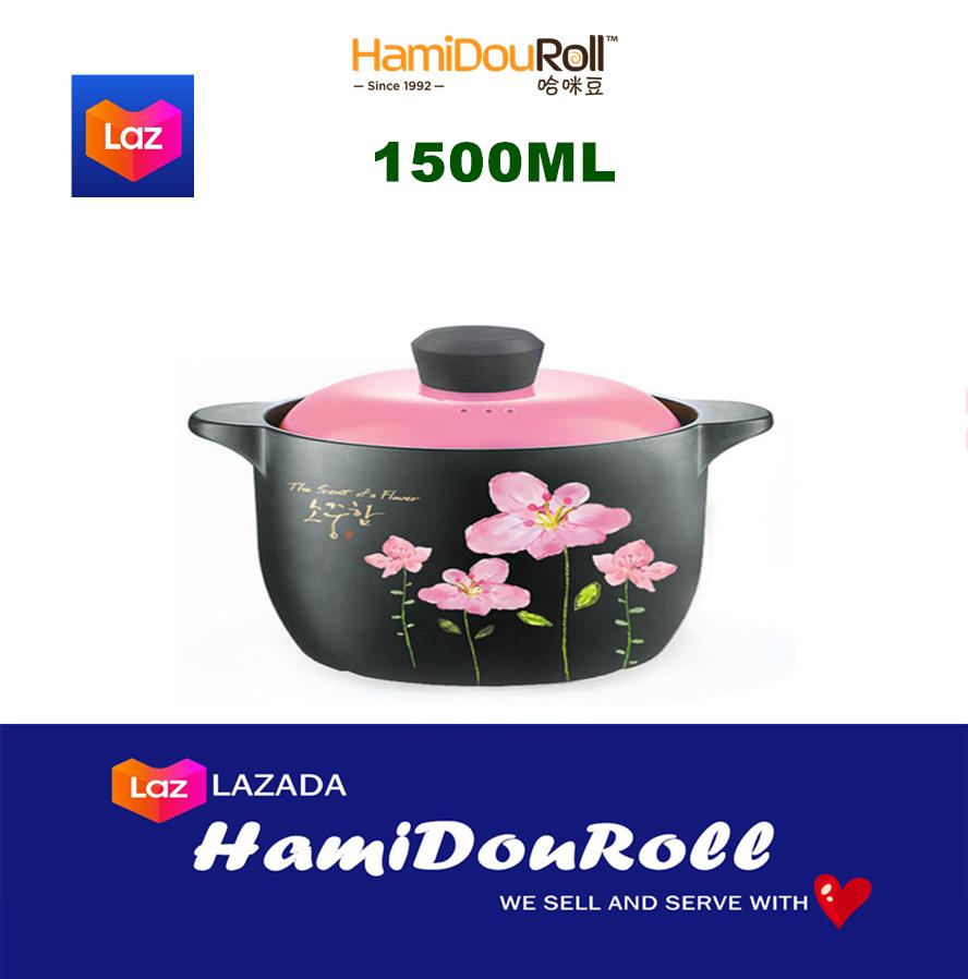 HamiDouRoll ????????(?? WIDE) 4000ML 100% Ceramic Stock Pot (????????) HMD3233-4WBLUEFLOWER