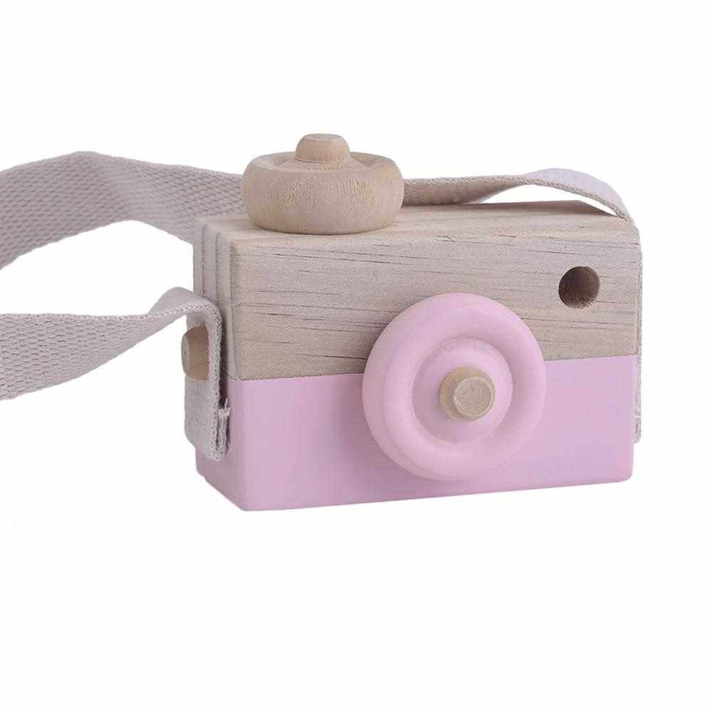 Cute Wooden Toy Camera Kids Girls Boys Creative Neck Camera Photo Props (Green)
