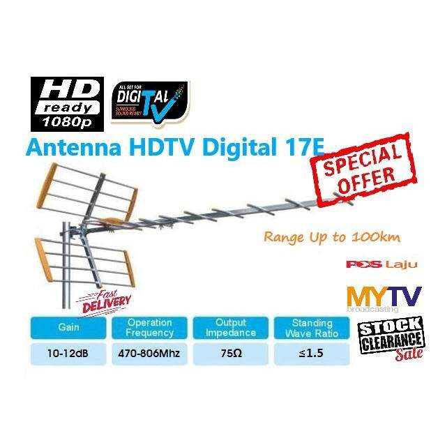 Fraskoo UHF Antenna 17 Element TV Digital T2 UHF HDTV MYTV MyFreeview FullHD
