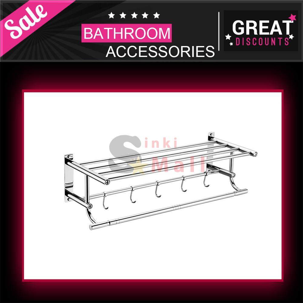 SUS304 Stainless Steel 600mm Towel Racks for Bathroom Shelf Double Towel Bar Holder with Hooks Wall Mounted Multifunctional Foldable