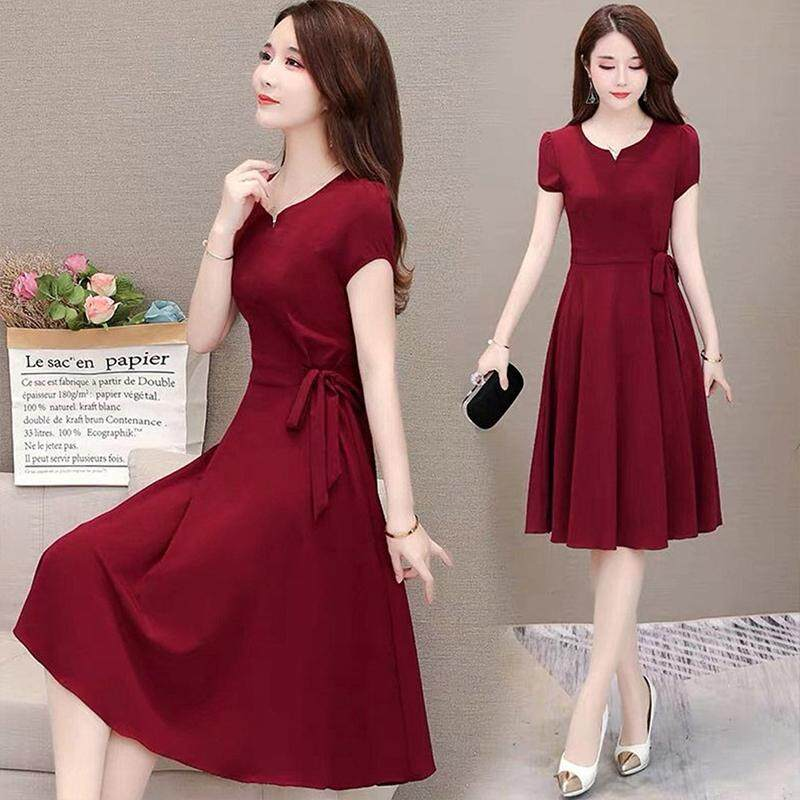 Woman Summer Loose Pure Color Short Sleeves Mid-length Dress Female Fashion Dress