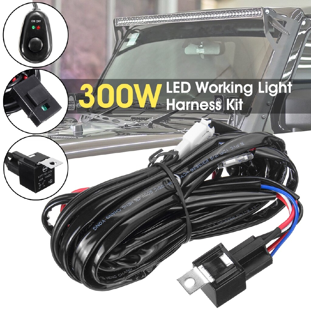 Car Lights - LED HID Wiring Loom Harness Spot Work Fog Light Bar Relay Switch Fuse 12V 40A - Replacement Parts