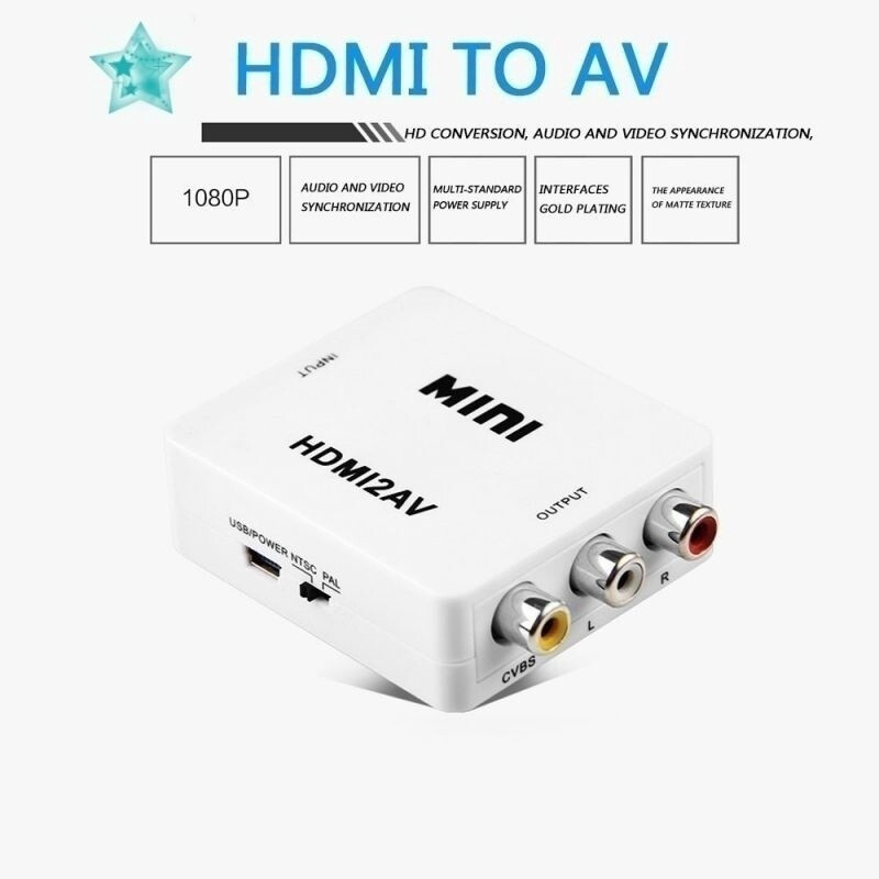 MINI Composite 1080P HDMI To RCA Audio Video AV CVBS Adapter Converter for TV - WHITE / BLACK