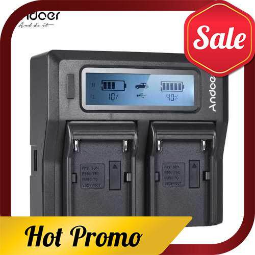 Andoer NP-F970 Dual Channel Digital Camera Battery Charger w/ LCD Display for Sony NP-F550/F750/F950/ NP-FM50/FM500H/QM71 (Color4)