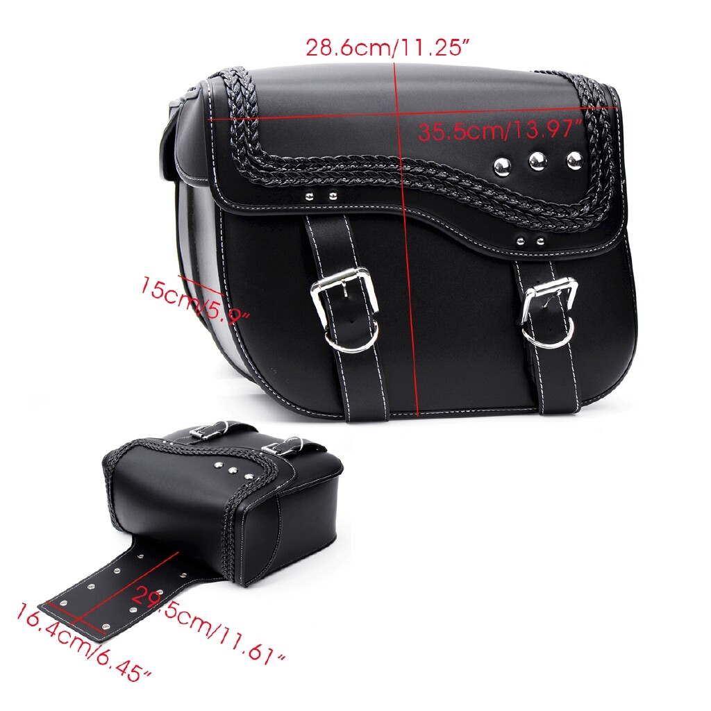 Moto Accessories - Universal PU Leather Motorcycle Saddlebag Travel Luggage Side Tool Storage Bag - Motorcycles, Parts