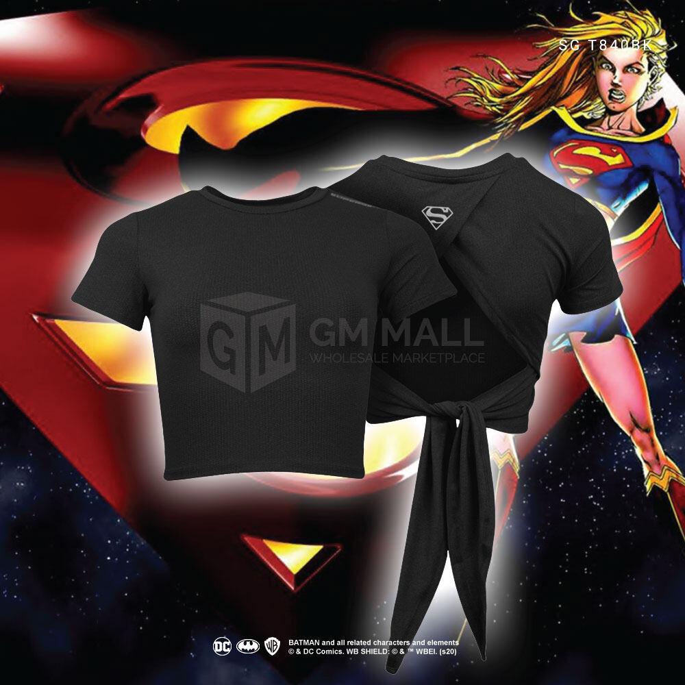 DC SUPERMAN Exclusive BLACK Women Stripe Yoga Zumba Training Tee - Sport Training Running Top [SGT840BK]