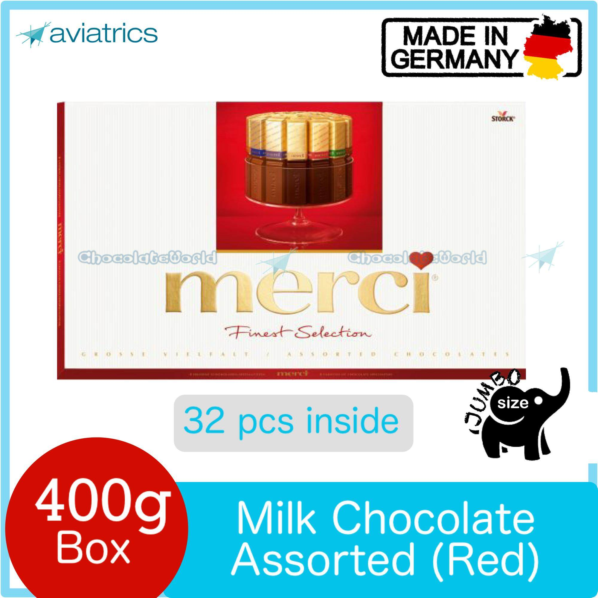 Merci Finest Selection Assorted European Milk Chocolate Red 400g (Made in Germany)