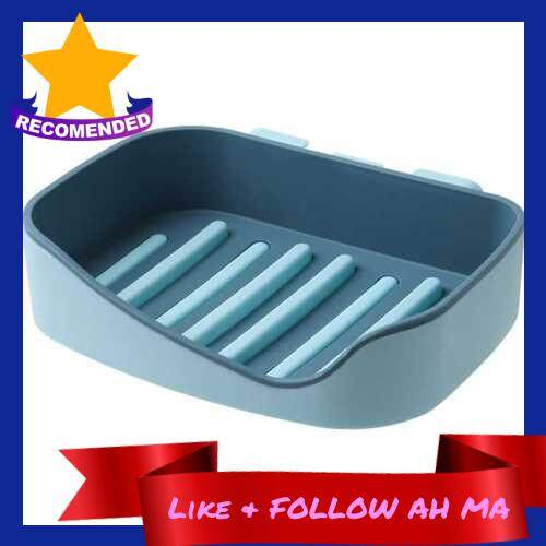 Best Selling Soap Dish Shower Wall Mounted Soap Holder Bathroom Tub Draining Water Soap Box Soap Saver Tray Case Kitchen Sink Counter Soap Case (Blue)