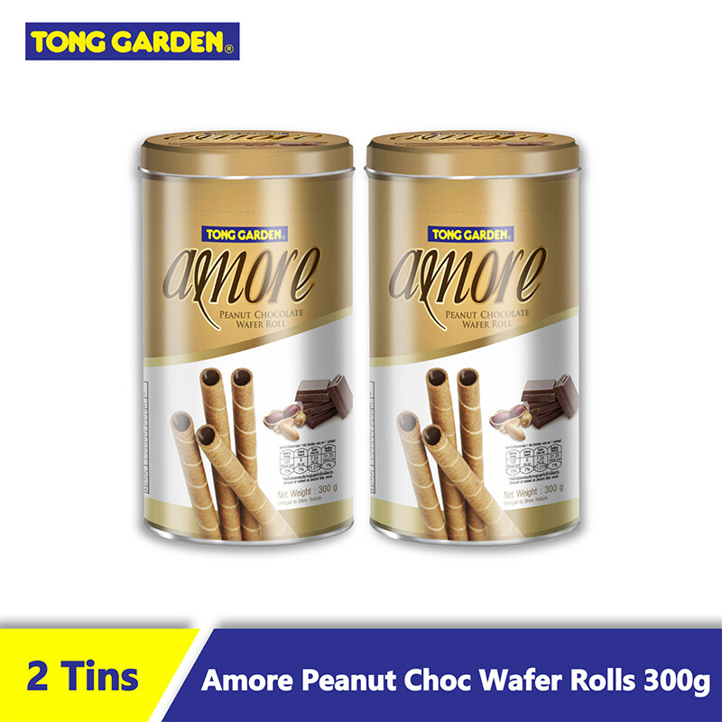 Amore Peanut Chocolate Wafer Rolls 300g [Bundle of 2]