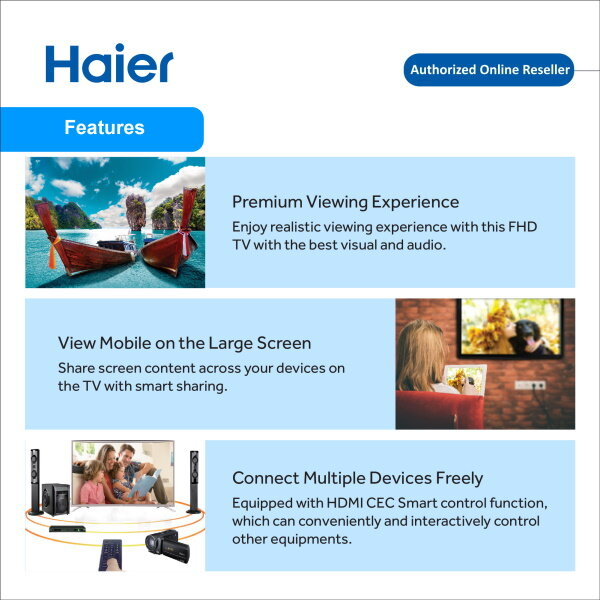 Haier 43 inch Full HD Smart TV DVB-T+C/T2 Android 6.0 WIFI LE43K6500A