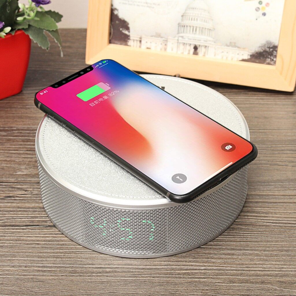 Chargers - Qi WIRELESS Charger BLUETOOTH Speaker NFC Clock Handsfree AUX USB For iPh_3C - SILVER / BLACK / GOLD