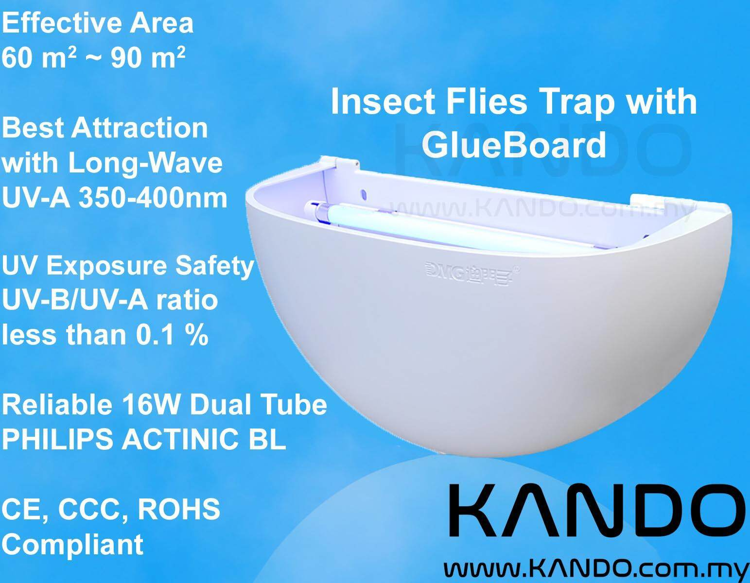 Insect Flies Trap with GlueBoard UV Light 16W Philips Actinic BL Sticky Trap Insect Killer Fly Trap Insect Trap Philips Actinic BL TL8W
