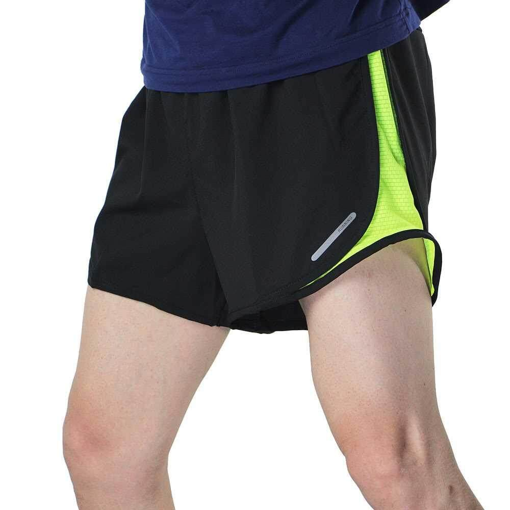 Arsuxeo Men's 2 in 1 Running Shorts Quick Dry Marathon Training Fitness Running Cycling Sports Shorts Trunks (gray)