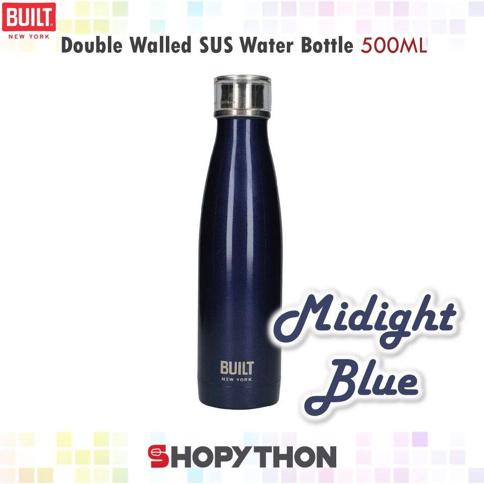 BUILT NY Double Walled Stainless Steel Water Bottle 500ml (Midnight Blue)