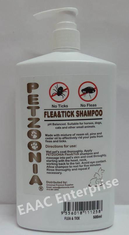PETZOONIA FLEA And TICKS PET SHAMPOO 500ML Syampu Kucing Dog