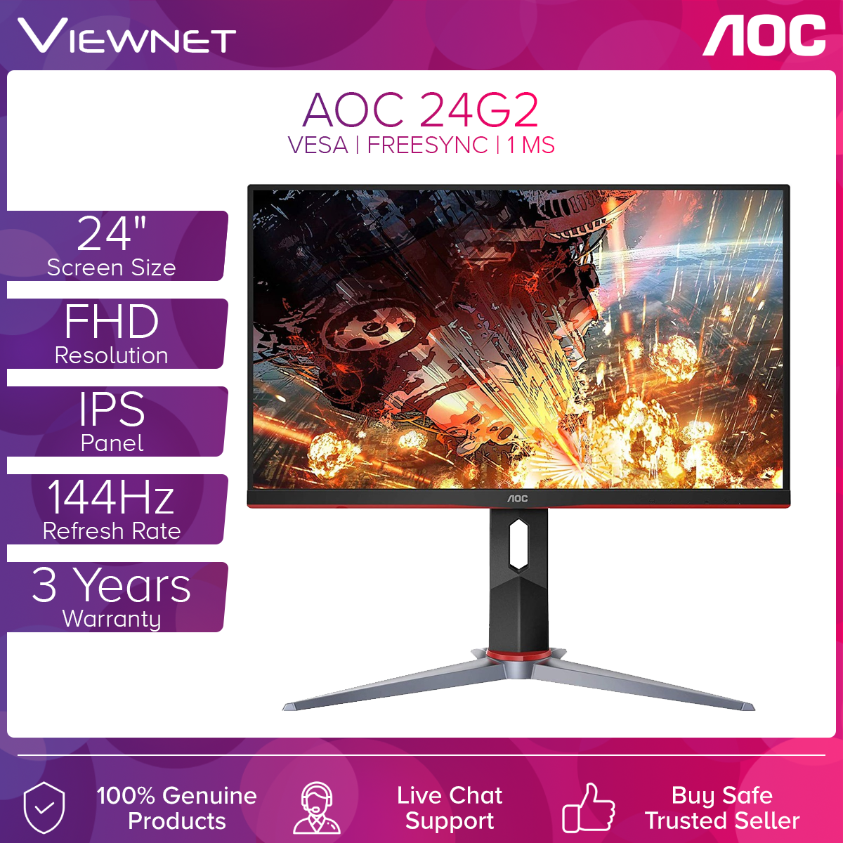 AOC 24G2 23.8 144HZ 1MS FHD ADAPTIVESYNC GAMING MONITOR