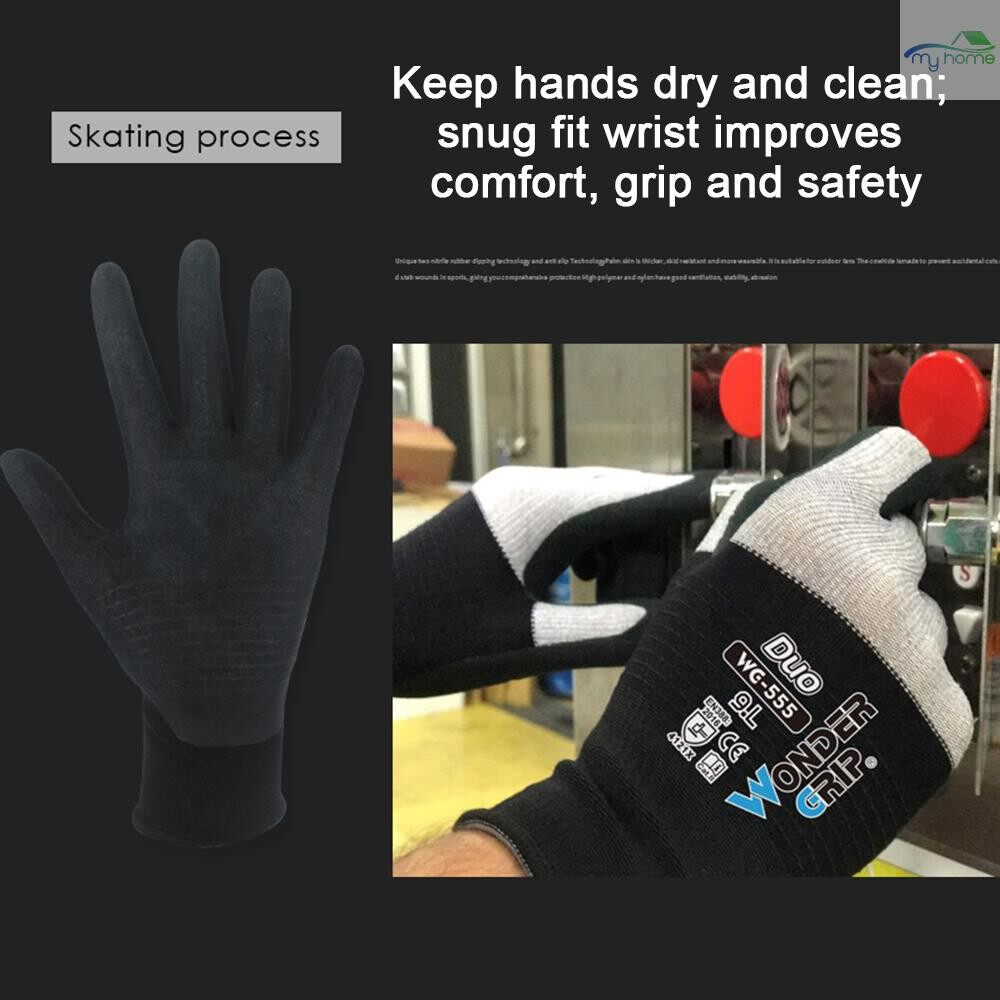 Protective Clothing & Equipment - Wonder Grip Abrasion-proof Gardening Gloves Universal Work Gloves with 15-Gauge Nylon Liner & - XL / L / M / S