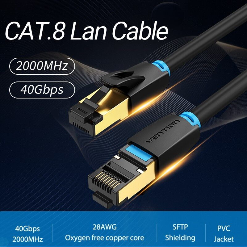 [READY STOCK]Vention Cat8 Ethernet Cable Super Speed SFTP Lan Network Cable 40Gbps Gold Plated RJ45 Patch Cord for Router Modem